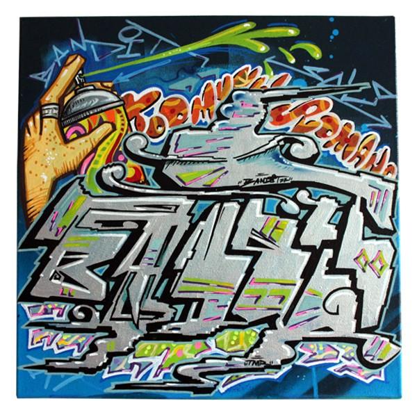 """Bandit 77 - Tricky Shot (Original)"" 40x40cm"