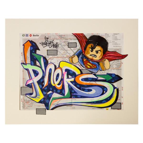 """""""Phers - Skizze X (Original & in Passepartout)"""" 40x50cm"""