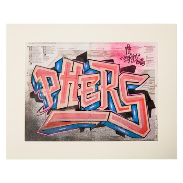 """Phers - Skizze V (Original & in Passepartout)"" 40x50cm"