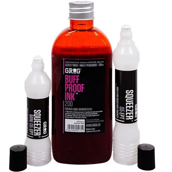 "Grog ""Buff Proof Ink (200ml) + Squeezer Small Refill Set - Splatter Red"""