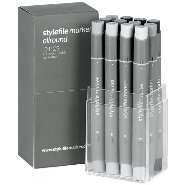 """Stylefile """"Allround Twin Marker 12er Set - Neutral Grey"""""""