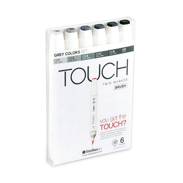 "Touch ""Twin Brush 6er Set - Grey Colors"""