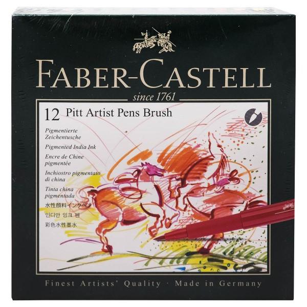 """Faber-Castell """"Pitt Artist Pen B (Brush)"""" Tuschestift 12er Set - Atelierbox"""