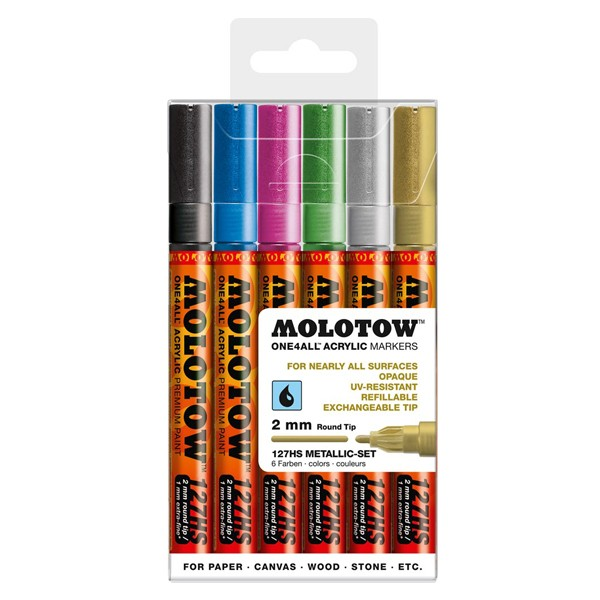 """Molotow """"127HS"""" One4all 6er Marker Set (2mm) - Metallic"""