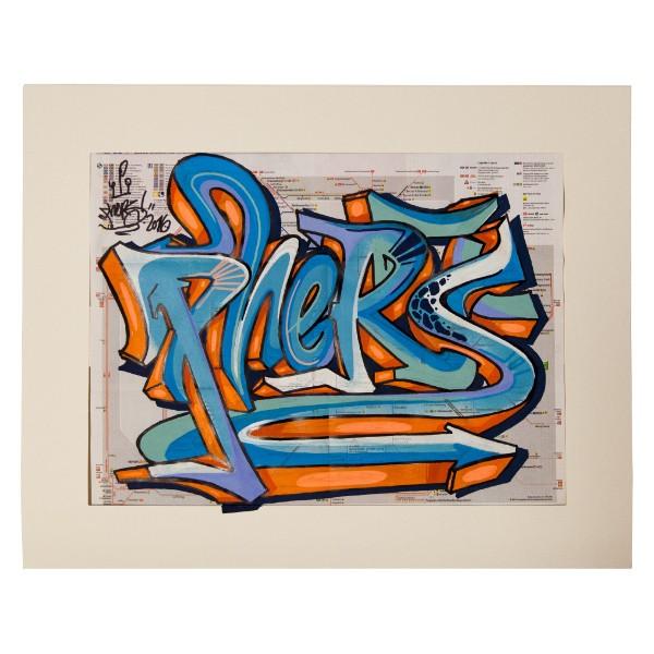 """""""Phers - Skizze I (Original & in Passepartout)"""" 40x50cm"""