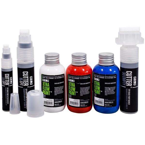 """Grog """"Cutter Marker Refill Set - White/Red/Blue"""""""