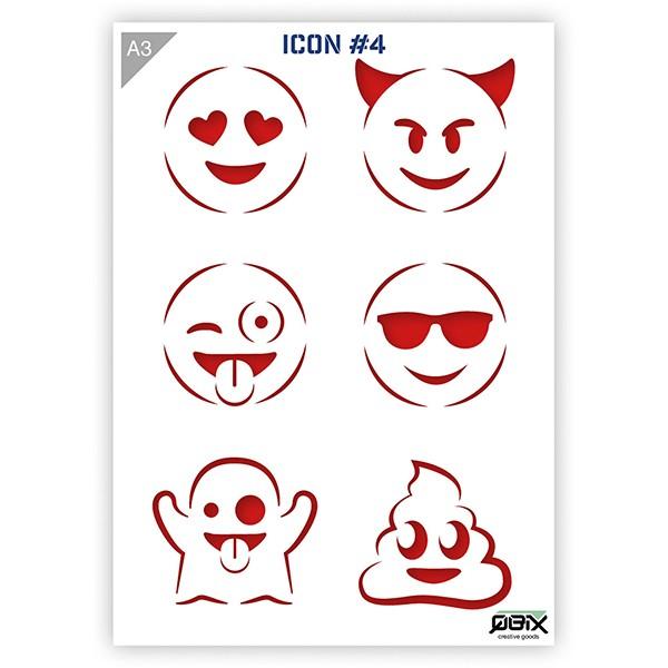 "Plastikschablone ""Icon #4 - Emojis"" A3"