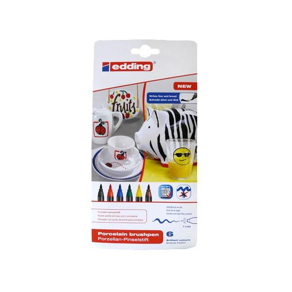 """Edding """"4200"""" Porzellan Brush Marker 6er Set (1-4mm)"""
