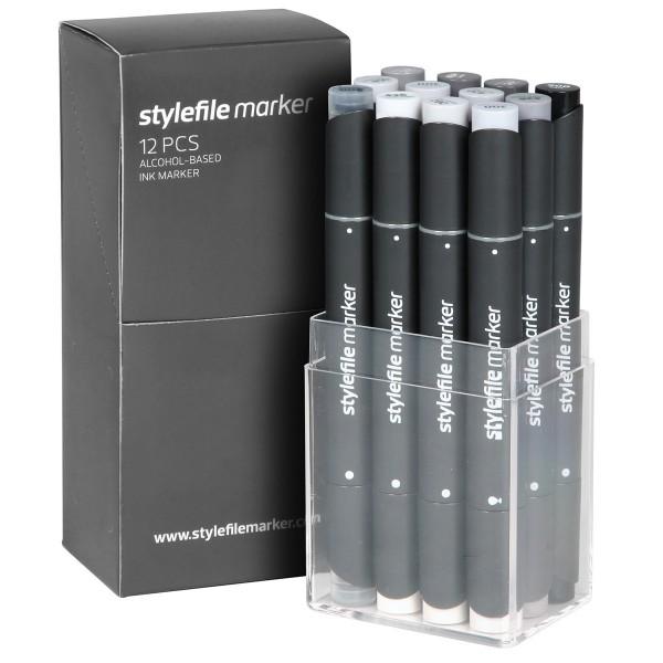 "Stylefile Twin Marker ""12er Set"" Neutral Grey"