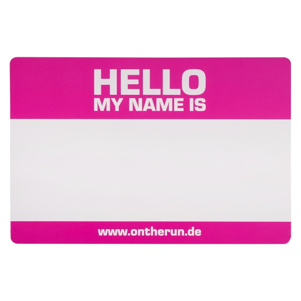 "OTR Magnet ""Hello my Name is.. - Pink - Medium"" (9x14cm)"