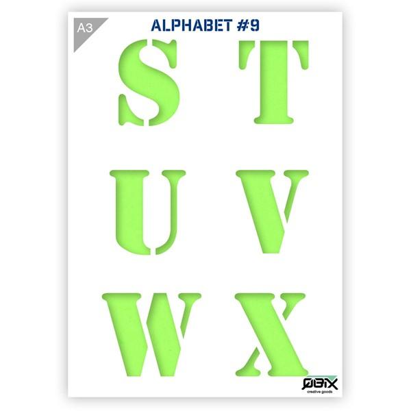 """Plastikschablone """"Alphabet #9 - Letters"""" A3"""
