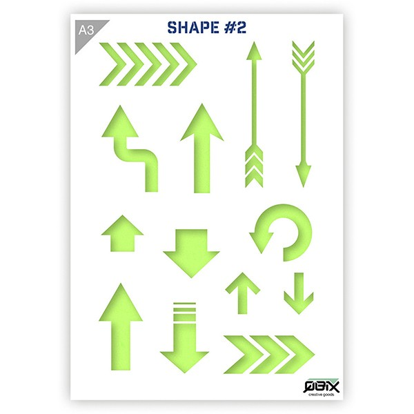 """Plastikschablone """"Shapes #2 - Arrows"""" A3"""