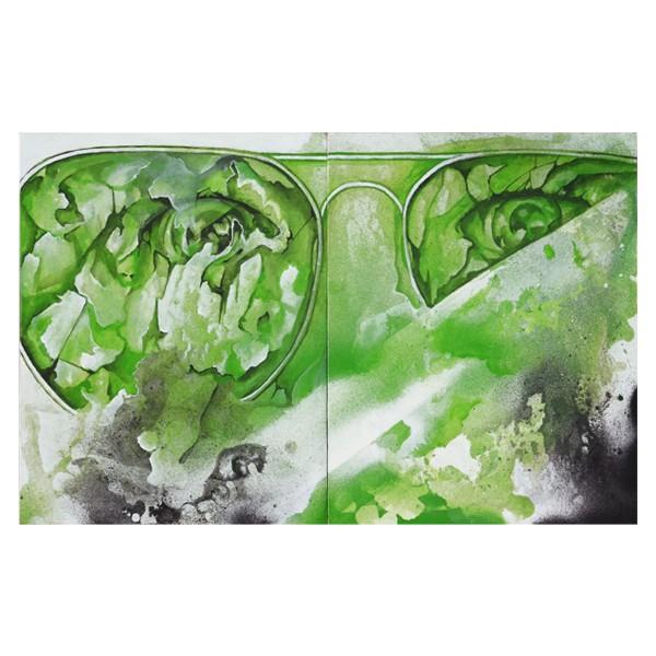 """B2W - Green Glasses (Original)"" 2x 24x30cm"