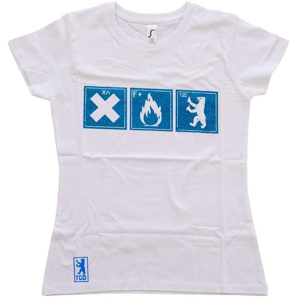 """Tasd Graffiti Design Girls T-Shirt """"The One"""" White/Blue"""