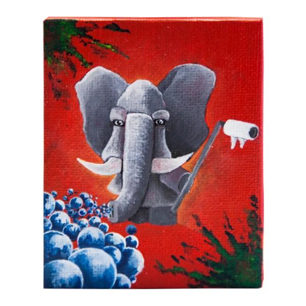 """Der Schmierfink - Elefant (Original)"" 7x9cm"
