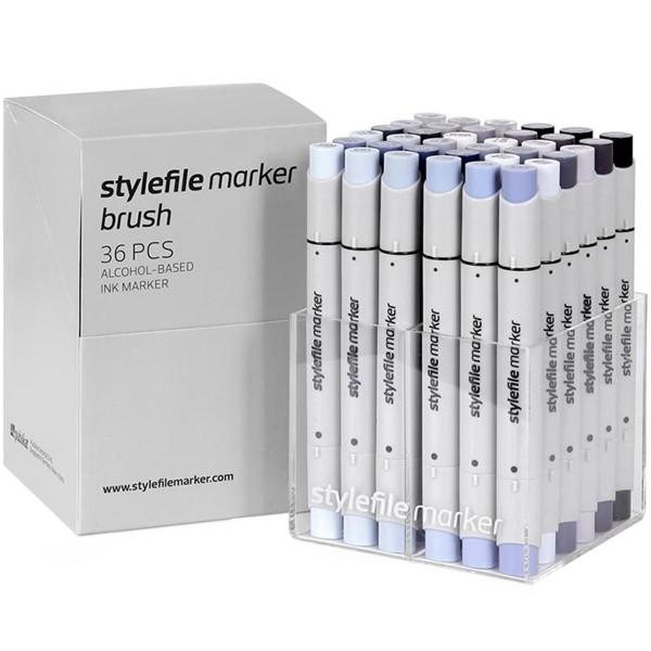 "Stylefile Brush Twin Marker ""36er Set"" Grey"