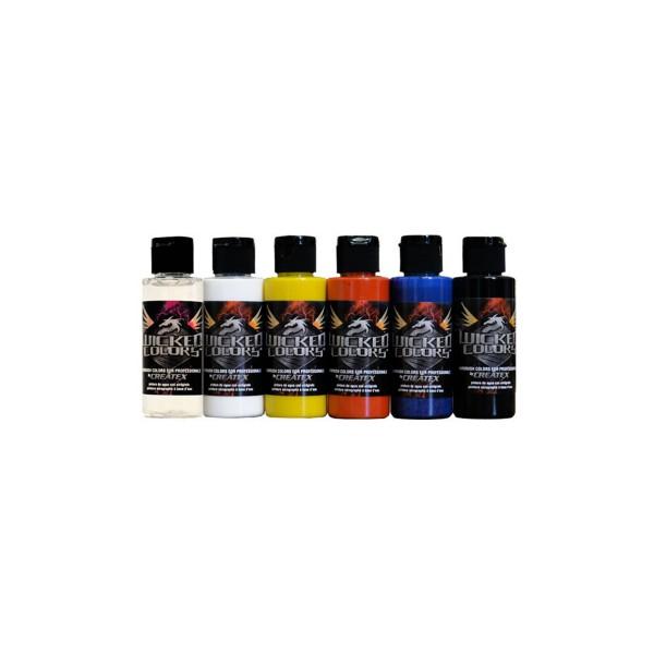 """Createx """"Wicked Colors - W101 2oz - Primary Set"""" (6x60ml)"""