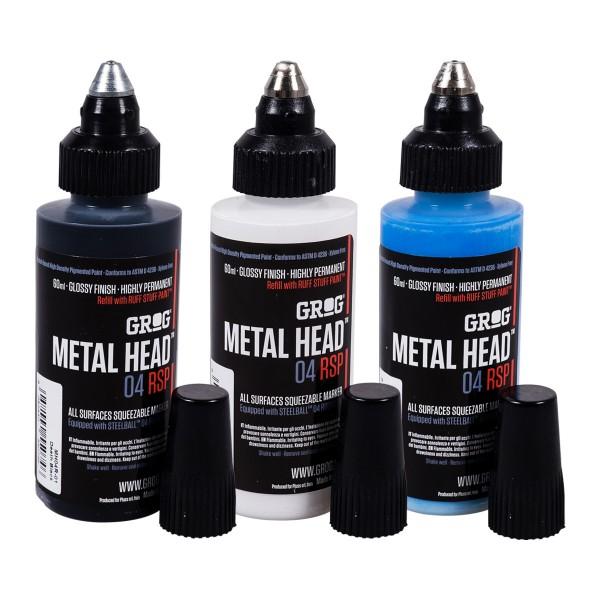 """Grog """"Metal Head 04 RSP 3er Set"""" Black, White & Blue"""