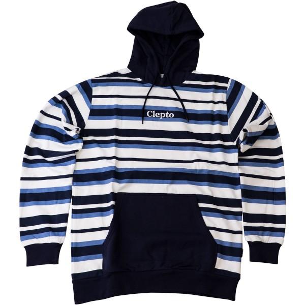 "Cleptomanicx Hoodie ""Multi Stripe 3"" Dark Navy"