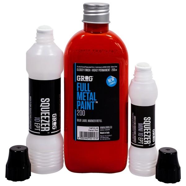 "Grog ""Full Metal Paint (200ml) + Squeezer Refill Set - Red"""