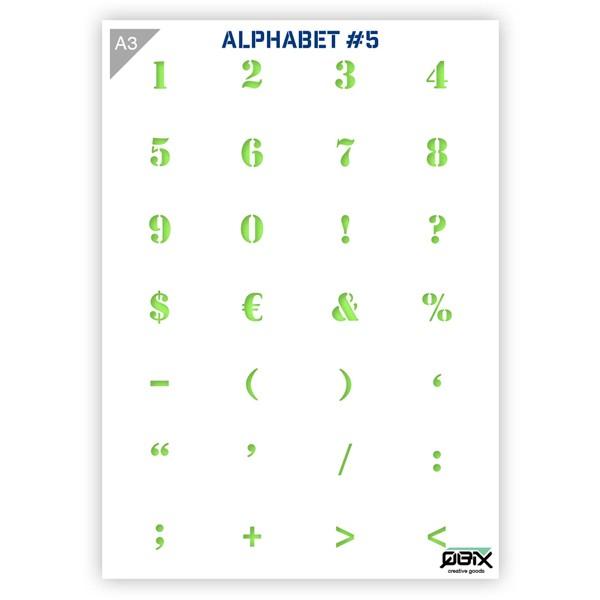"Plastikschablone ""Alphabet #5"" - Numbers / Symbols A3"