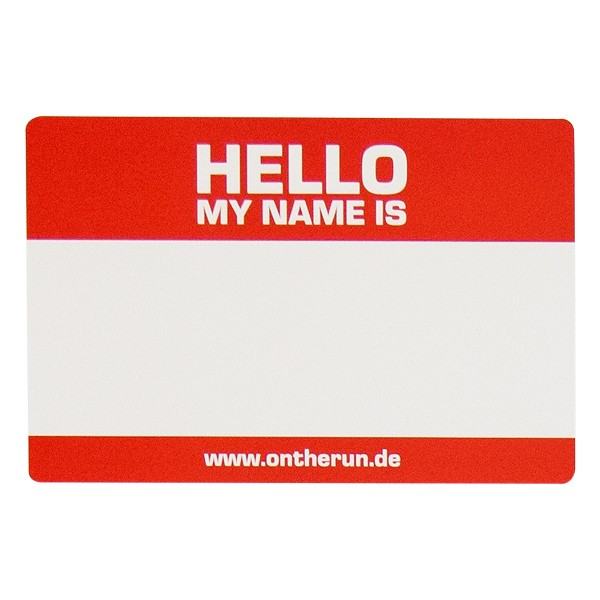 """OTR Magnet """"Hello My Name Is - Red"""" Big (30x20cm)"""