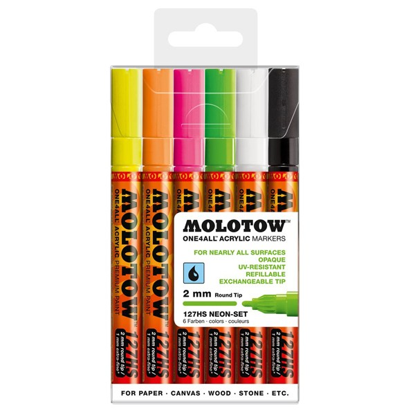 "Molotow ""127HS"" One4all 6er Marker Set (2mm) - Neon"