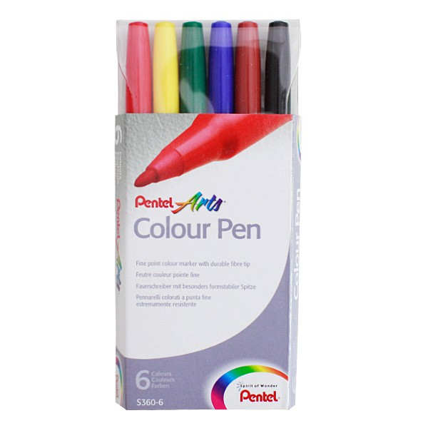 "Pentel ""S360"" Arts Colour Pen (1-2mm) - 6er Set"
