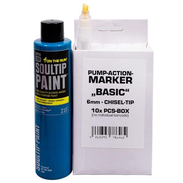 """We Love Marker """"Basic Chisel Pumpmarker 10er Set inkl. OTR.901 Soultip Refill - Petrol"""""""
